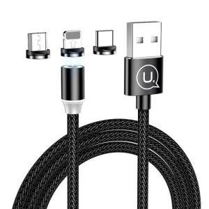کابل تبدیل مگنتی USB به تایپ سی-لایتنینگ-میکرو یوسمز مدل sj438,